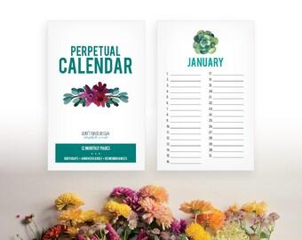 Printable Succulent Perpetual Calendar - Birthday Calendar - Anniversary Calendar - Colorful Eternal Planner - Instant Download PDF
