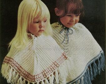 Crochet Knit Ponchos Vintage Pattern PDF B056 from WonkyZebraBaby