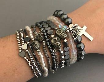 Silver Bracelet Stack, Miller Silver Bracelet 10 Stack, Harry Potter Bracelet Stack, Deathly Hallows Bracelet, Gifts for Her