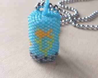 Fish Tank Pendant on Ball Chain ~ Goldfish Necklace ~ Beaded Jewellery ~Bead Jewelry