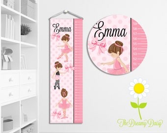 Personalized Ballet Growth Chart for Kids - Custom Girls' Ballerina Growth Chart w/ Name - Hanging Wall Height Chart - Ballerina Room Decor