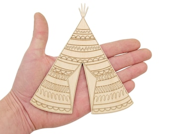Wooden Indian Teepee Tent (15cm) Shape Art Projects Craft  Decoration Gift Decoupage Ornament MG000332