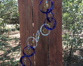blue, clear, yellow, GLASS WINDCHIMES from RECYCLED bottles, garden decor, wind chimes, mobiles, musical, windchimes