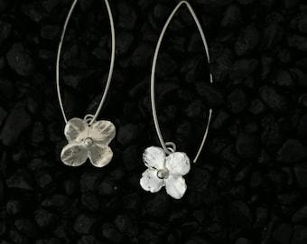 Hydrangea Blossom Earrings, Shiny~Long Ear Wires...Fine & Sterling Silver~Flowers~Artisan Hand Made