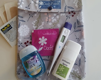Gray Floral Cosmetics Bag Ouch Pouch or No Label Clear Front Diaper Bag Purse Luggage Organizer First Aid Baby Travel Essentials Large 6x8