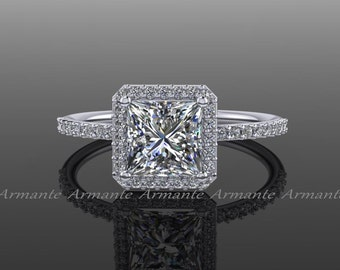 Princess Cut Moissanite Engagement Ring, Diamond And Square Moissanite 14k White Gold Halo Ring, Wedding Ring Re0005