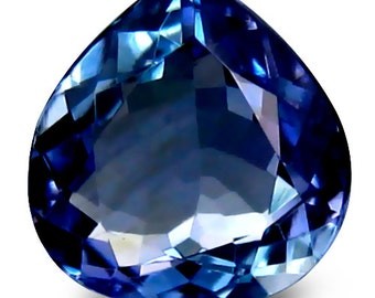 1.79 Ct Tanzanite - Beautiful, Flawless, Huge, Pear Cut Tanzanite, AAA, D- BlockBlue in Color with a Strong Luster