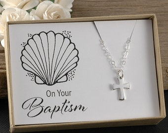 Baptism Jewelry, Cross necklace, Simple Cross charm, Sterling silver, Gift for Baptism, On your baptism