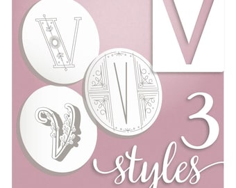 Embroidery Pattern, Modern Monograms Letter V hand embroidery patterns in three styles Alphabet Letter embroidery designs by SeptemberHouse