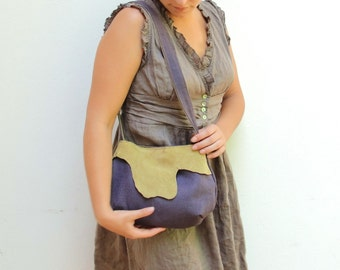 Leather and Linen Bag, Eggplant and Mustard, Natural Materials