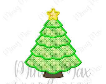 Christmas Tree 3 Applique Machine Embroidery Design 4x4 5x7 6x10 INSTANT DOWNLOAD