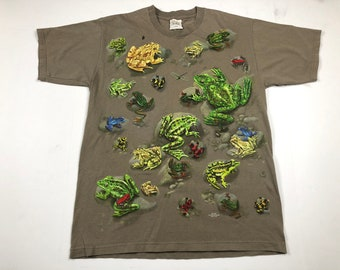 Vintage 90s frogs all over print t-shirt mens L puff print