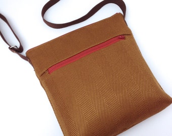 Cross Body Travel Messenger Bag - Copper Brown Herringbone