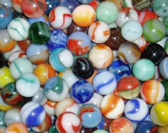 100 Antique Marbles, 1920's-1950's,  Peltier, Akro, Vitro, Master, Marble King, Etc.  Worth Hundreds of Dollars