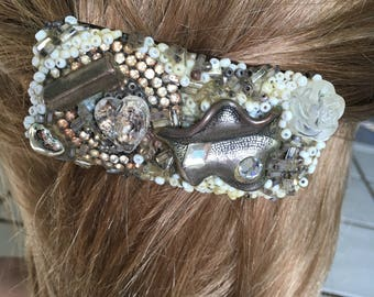 """Vintage  60's """"FRENCH BARRETTE"""" / Hair Clip Abstract Design Amber Color Shell Holder"""