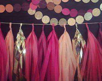 "Tassel Banner Garland • 9"" Tassels • Choose your Colors"
