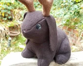 Customizable Jackalope Bunny Rabbit Stuffed Animal Plushie Toy