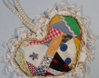 """8"""" Heart Door Knob Hanging Cutter Quilt Style Pin Cushion Bowl Filler Gift Package Topper Multicolor Ruffled Crazy Lacy Patchwork Decoration"""