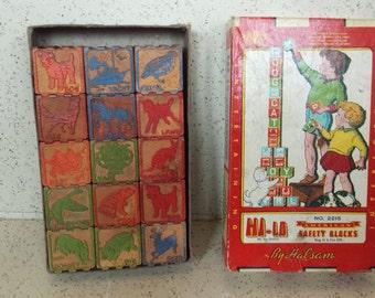 Vintage Box of Wood Building Blocks  - Halsam