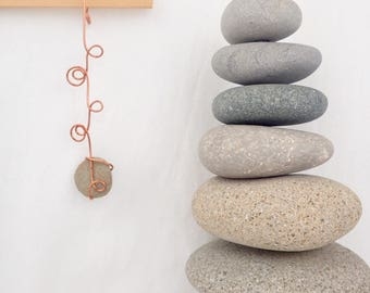Ornament, Wabi-sabi, Natural Beach Stone, Copper, Made in Maine, Wedding Favor, Small Gift, Party Favor, Tendril, BUY 3 get ONE FREE, 18J2