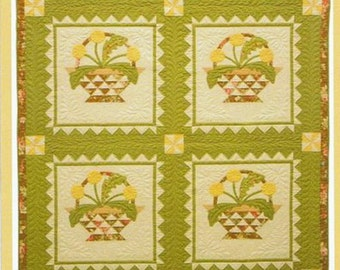 Sale DANDELION BLOOM Quilt Pattern Fig Tree Quilts Throw Lap Wall Size Baskets Pieced Applique Clearance Rare!