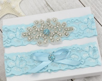 Garter Set, Bridal Garter Set, Wedding Garter Set, Crystal Pearl Garter Set, Lace Garter Set, Bridal Garters, Light Blue Garter Set.