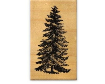 PINE TREE Lg. mounted rubber stamp, winter holiday, Christmas, nature scene, Sweet Grass Stamps No.19