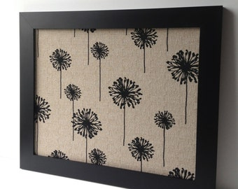 LARGE magnet board, modern decor, magnetic bulletin board, office decor, framed memo board - black & tan, fabric covered