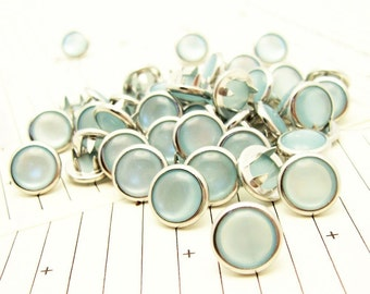 24 Light Blue Cowgirl Snaps Pearl Prong Western Snaps