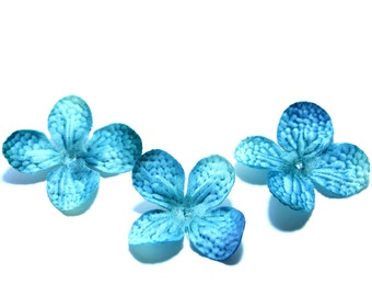 20 Silk Hydrangea Blossoms in Turquoise - Artificial Flowers, Silk Flower Blossoms - PRE-ORDER
