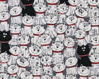 Black & White Cats by Gail Cadden C3040 White for Timeless Treasures