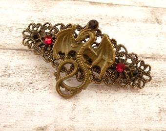 Small hair clip with dragon motif, Fantasy hair jewelry, LARP Barrette, Hair Accessories Gothic, Medieval Barrette, Mythology