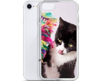 Tuxedo Cat with feathers iPhone Case