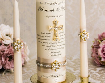 Unity Candle Set Gold Cross Candle Set, Church Wedding Unity Candles for Wedding, Gold Unity Candle Set Gold Wedding Cross Christian Wedding