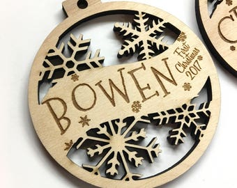 Bowen - Customizable Baby's First Christmas Ornament - Engraved Birch Wood Ornament