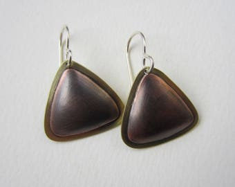 Puffy Triangle Earrings oxidized copper hollow formed with brass hand fabricated drop earrings