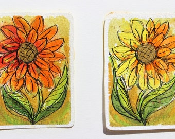 Vintage Water Colors By Jan Andrews Crazy Daisy Orange and Yellow Groovy Original Artwork