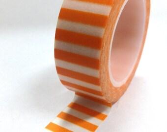 Washi Tape - 15mm - Orange and White Horizontal Stripe - Deco Paper Tape No. 814