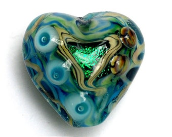 Mirage Lake Heart Focal Bead - Handmade Glass Lampwork Bead 11803705