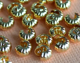 500pcs 5mm Crimp Cover Gold Plated Brass Corrugated Knot Covers Jewelry Findings