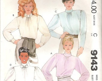 ON SALE 80's Sewing Pattern - McCall's 9143 Four soft pleated blouses Size 12 Uncut, Factory Folded