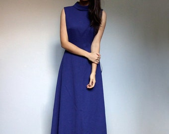 Long Blue Dress Women Simple Vintage Women 70s Sleeveless Aline Maxi Dress - Large L