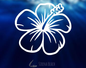 Hibiscus Decal | Hawaiian Flower Sticker | Tropical Decal | Flower Decal | Hawaii Decal | Flower Decal for car, laptop and tumblers!