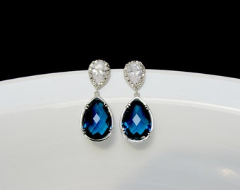 sapphire bridal earring , blue bridesmaid earring , sapphire blue drop earring , silver sapphire earring , wedding jewelry