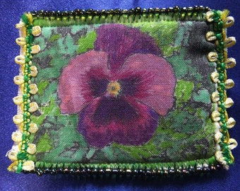 Tiny Art Quilt ATC Purple Pansy in the Garden