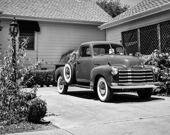 Vintage Chevrolet 3500 Pickup Truck with classic white wall tires in Napa-Black and White Printable Digital File-Print it your way and save!