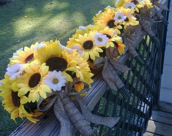 Sunflower Bouquet 5 Piece Rustic Wedding Bouquet Flower Set, Rustic Bridal Bouquet Sunflower Daisy Bouquet Burlap Sunflower Wedding Bouquet