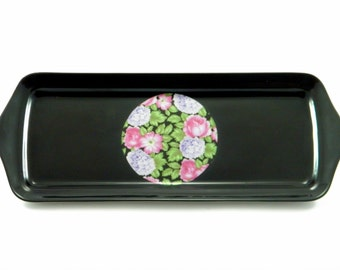 Vintage 1970's Pillivuyt No. 804 France Decorative Rectuangular Ceramic Black, White and Floral Tray