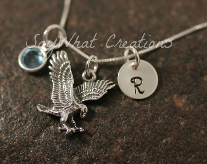 Sterling Silver Mini Initial Hand Stamped Eagle Charm Necklace