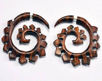 Tribal Spiral Fake Gauge Earrings 40 mm X 38 mm